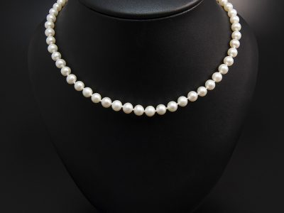 Mid Ivory Round Freshwater Pearl Necklace 7mm With A 18kt Yellow Gold Clasp. Available In Store £390.00