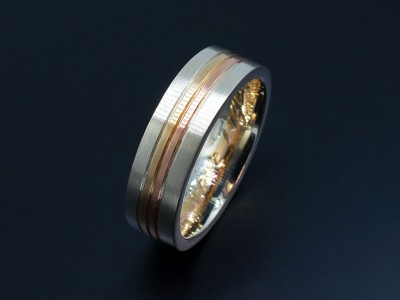 18kt Red, Yellow and White Gold Gents Wedding Ring.