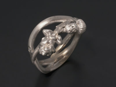18kt White Gold Rose and Thistle Cross Over Dress Ring.