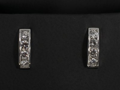 Round Brilliant Cut Diamond 0.63ct (8) 1/2 Huggy Earring Set in 18kt White Gold in a Channel Set Design