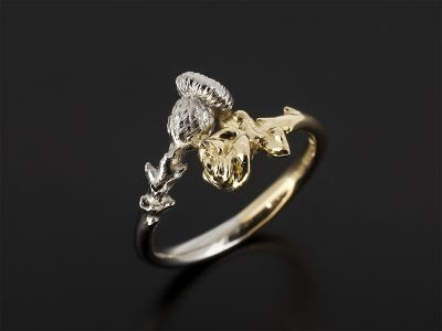18kt Yellow Gold and Platinum Rose and Thistle Design Ring