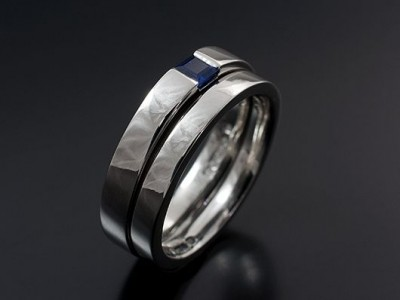 Platinum Square Sapphire Tension Set Engagement Ring with Fitted Wedding Ring.