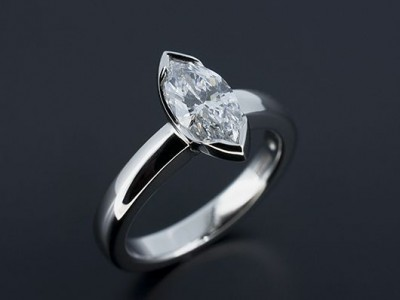 Marquise Cut 0.96ct D VS2 in a Platinum Tension Rub Over Setting.