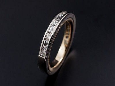 Ladies Channel Set Wedding / Eternity Ring with Princess Cut and Baguette Cut Diamonds. Two Tone Comprising 9kt Yellow Gold and Palladium