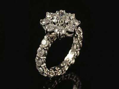 Platinum Cluster Engagement Ring with a 1.08ct F VS1 and 22 x 0.10ct F VS Round Brilliant Diamonds