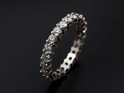 Eternity / Wedding Ring with 24 x 0.05ct (1.2ct total) Round Brilliant Diamonds F VS Hand-Made in Platinum