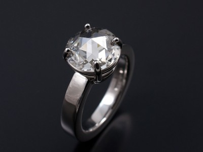 Adapted Rose Cut Round Diamond 1.86ct H Colour SI1 Clarity in Hand Made 4 Claw Palladium Setting.