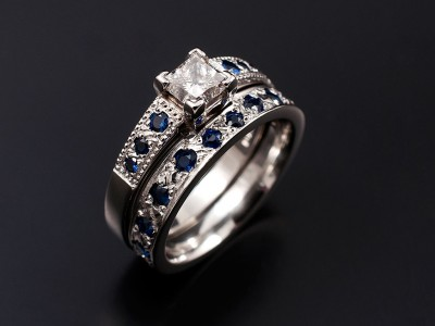 Antique Style Engagement Ring with Matching Pave set Sapphire Wedding Ring. Princess Cut 0.50ct E VS1 in a 4 Claw Platinum Setting