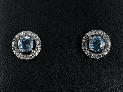 Round Santa Maria Aquamarine Earrings 0.78ct with Pavé Set Diamond Halo. Handmade in Palladium.