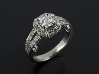 Royal Asscher Cut 0.50ct D Colour VS2 Clarity in a Palladium Pavé Set Diamond Halo Antique Design with Double Shoulders.