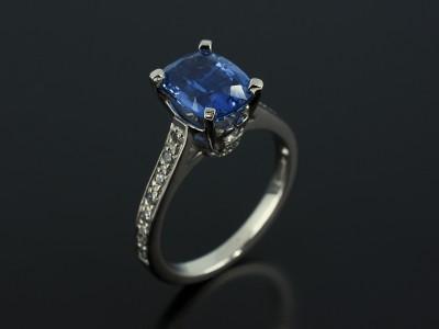 Cushion Cut Sapphire 2.77ct in a 4 Claw Palladium Diamond Pavé Set Design.