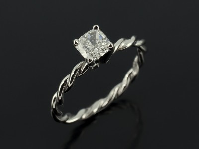 Cushion Cut 0.41ct E Colour SI Clarity in a Palladium 4 Claw Design with Rope Inspired Band.