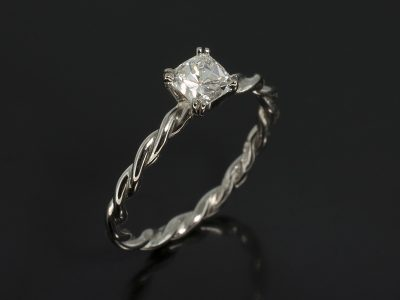 Cushion Cut Diamond 0.48ct Ecolour VS Clarity Double Claw Set in Palladium in a Twist Band Design