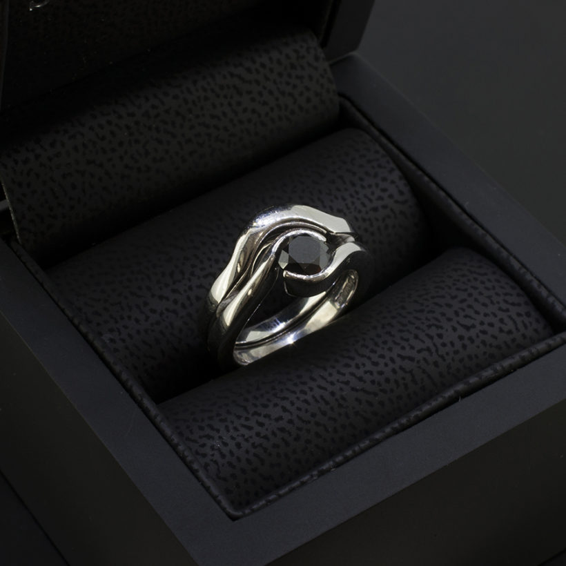 black diamond engagement ring and matching wedding band, twist design black diamond ring, engagement and wedding ring set with black diamond centre stone, 9kt white gold bridal ring set