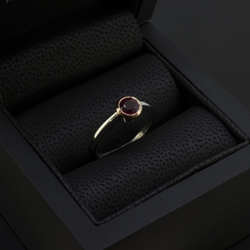 pigeon blood ruby, hand made ruby ring scotland, round ruby platinum ring, gold rub over set ruby ring, platinum and gold ruby dress ring, rare pigeon blood red ruby