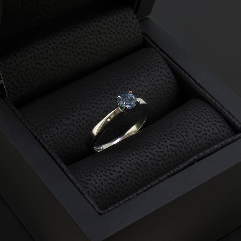aquamarine solitaire ring in platinum, 4 claw set aquamarine dress ring, solitaire ring with claw set aquamarine, platinum jewellery designed and made in scotland
