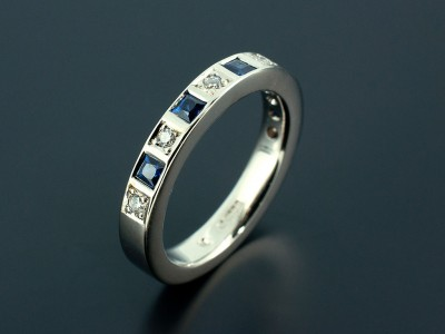 Diamond and Sapphire 18kt White Gold Wedding / Eternity Ring.