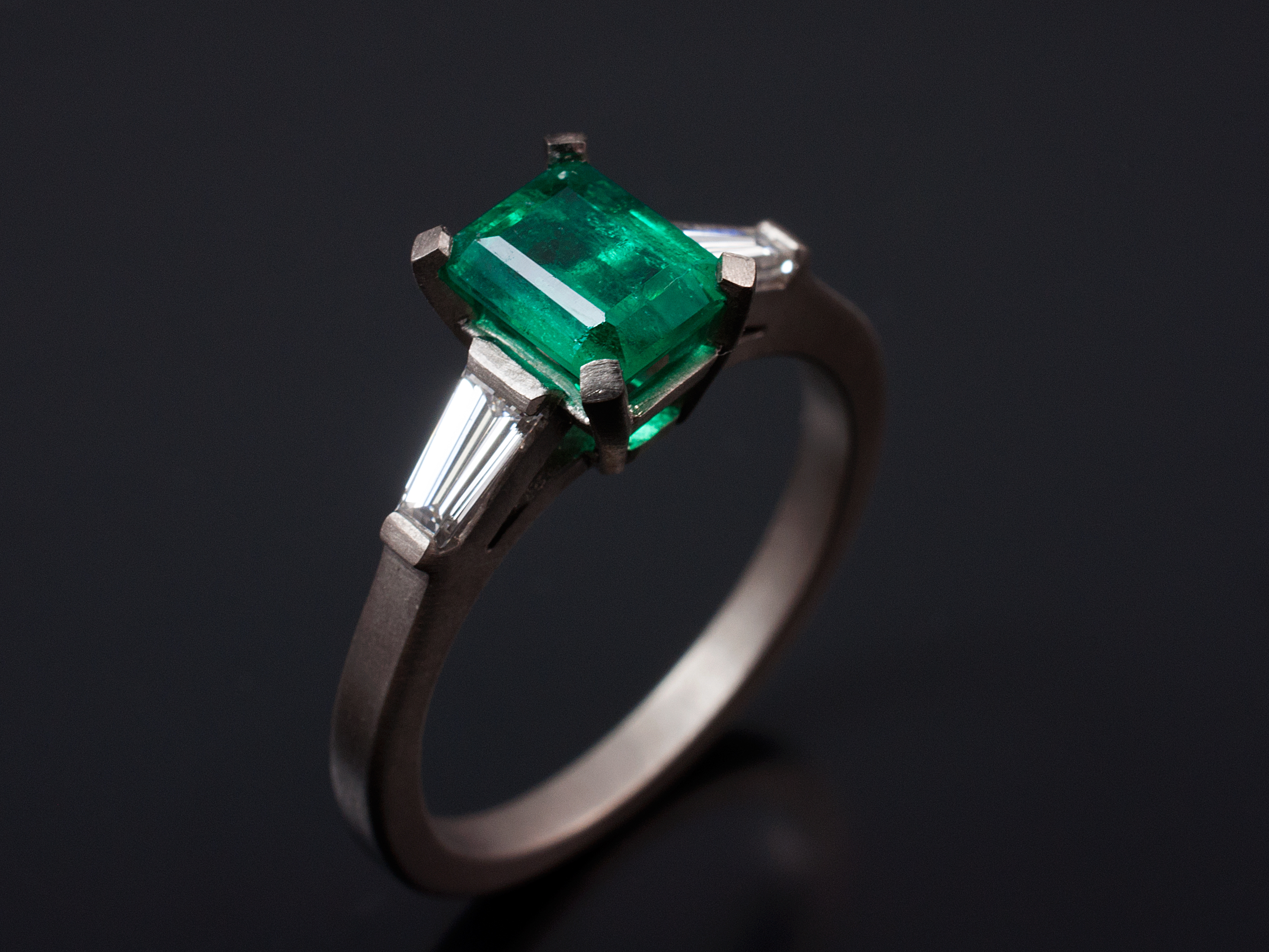 Emerald and Asscher Cut Diamond Engagement Rings Gallery