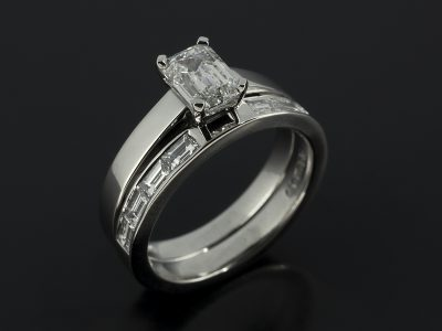 Emerald Cut Diamond, 1.01ct, E Colour, SI1 Clarity, Excellent Polish, Excellent Symmetry, Four Claw Set In Platinum