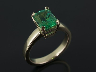 Emerald 1.98ct Colombian Origin in a 4 Claw 18kt Yellow Gold Solitaire Design.