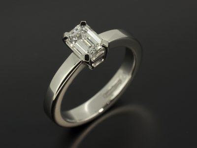 Emerald Cut Diamond, 0.71ct, E Colour, VS2 Clarity, Excellent Polish, Very Good Symmetry, Four Claw Set in a Platinum Solitaire Design