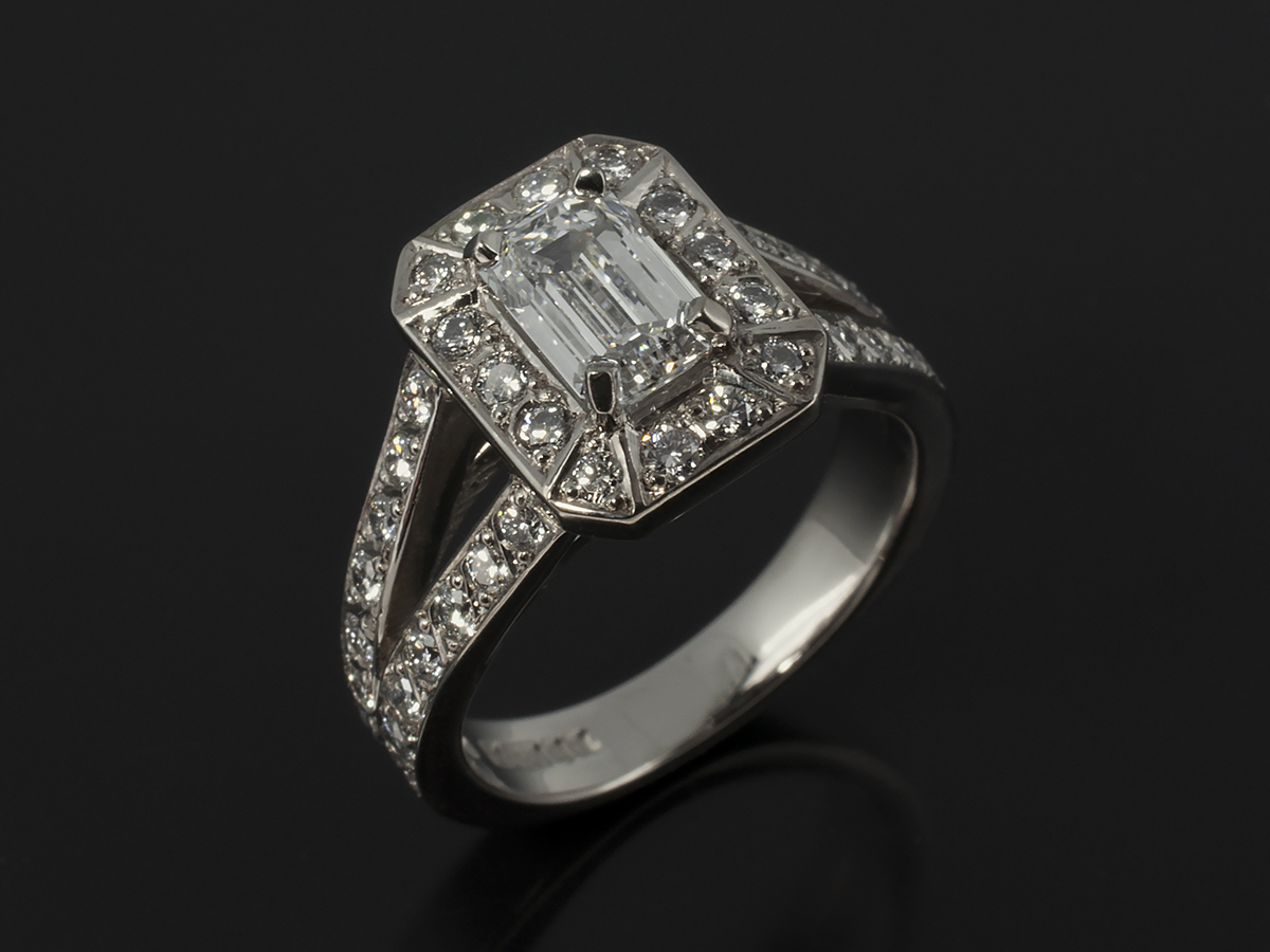Emerald And Asscher Cut Diamond Engagement Rings Glasgow