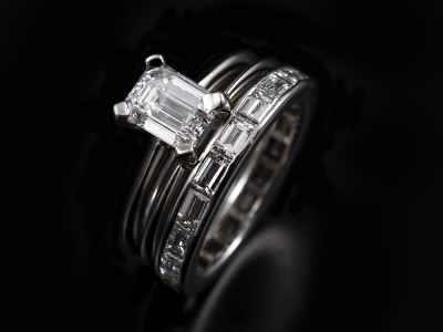 Emerald Cut 1.01ct D VVS2 with integrated spacer wedding ring and a full eternity ring. All hand made in platinum