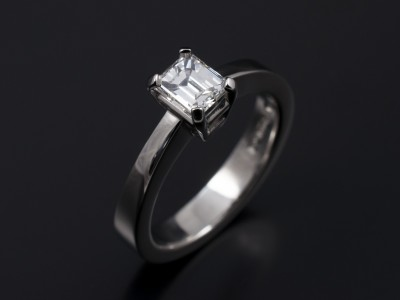 Emerald Cut 0.58ct E Colour VS2 Clarity in a 4 Claw Platinum Setting.