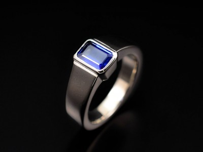Emerald Cut Sapphire 1.01ct in an 18kt White Gold Rub Over Setting