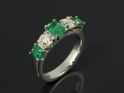 Emerald and Diamond 5 Stone Platinum Eternity Ring.
