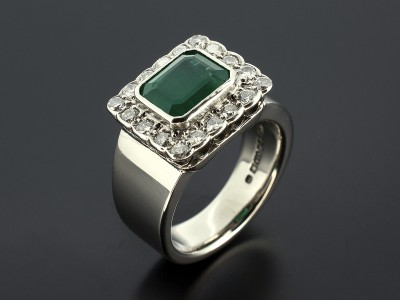 Emerald 2.06ct with 18 Round Brilliant Diamonds 0.4ct Total in a Palladium Halo Cluster Setting.