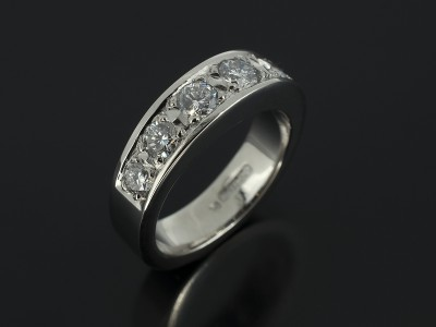 Half Palladium Pavé Set Diamond Eternity Ring 1.03ct Total.