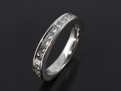 Full 18kt White Gold Princess Cut Diamond Channel Set Eternity Ring 1.86ct Total F Colour VS Clarity Minimum.
