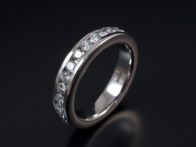 Round Brilliant Cut Full Channel Set Eternity / Wedding Ring in 9kt White Gold.