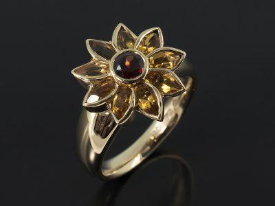 Round Garnet and Marquise Citrine 9kt Yellow Gold Sunflower Inspired Design.