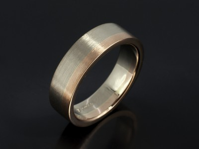 Gents 18kt White and Rose Gold Brushed Two Tone Wedding Ring.
