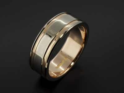 Gents 18kt White and Rose Gold 8mm Wedding Ring