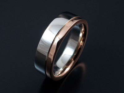 Gents 18kt Red Gold and Palladium Two Tone Wedding Ring in a Polished Finish.