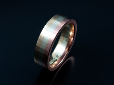 Gents 3 Tone 9kt Yellow, White and Red Gold Wedding Ring