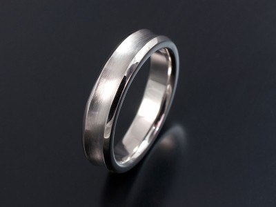 Gents 5mm Width Palladium Concave Wedding Ring with Brushed and Polished Finish.