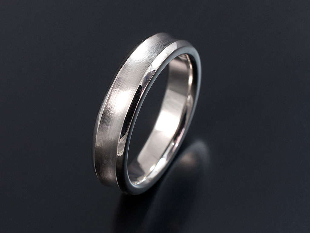 Gents 5mm Width Palladium Concave Wedding Ring With Brushed And Polished Finish: Concave Brushed Wedding Band At Websimilar.org