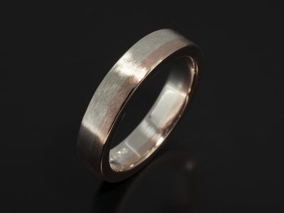 Gents 9kt White & Rose Gold Two Tone Wedding Ring in a Brushed Finish