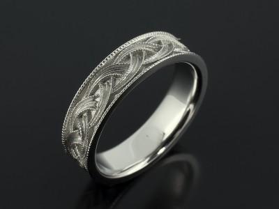Gents Celtic Filigree Design Platinum Wedding Ring.