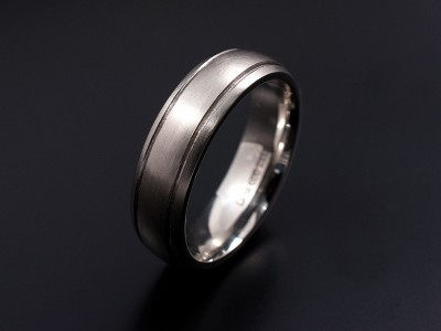 Gents Palladium 5mm Wide Wedding Ring with 2 Engraved Lines in a Brushed Finish
