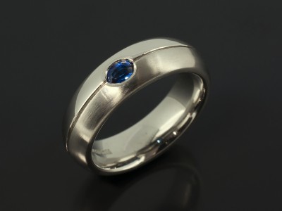 Gents Palladium 6mm Court Wedding Ring with 0.15ct Oval Sapphire Set into Band and Grooved Line with Polished and Matt Finish.