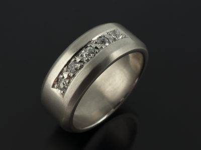 Gents Palladium Brushed Chamfered Edge Pavé Set Diamond 8mm Width Engagement Ring.