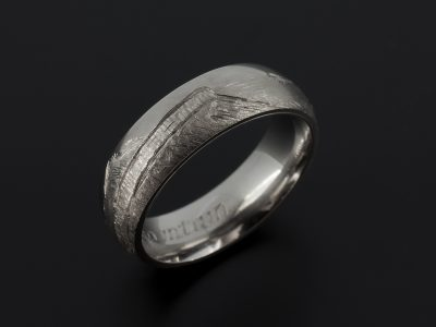 Gents 6mm Palladium Wedding Ring with Hand Engraved View of Arthur's Seat.