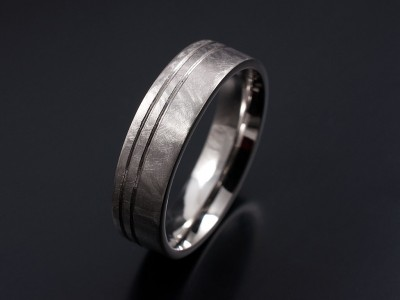 Gents Palladium Wedding Ring with Double Groove in a Brushed Matt Finish.