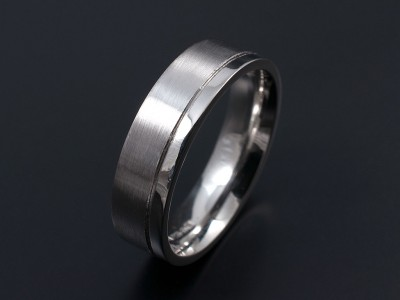 Gents Palladium Wedding Ring. 6mm Width with Engraved Line Separating a Larger Matt Section with a Polished Smaller Section.