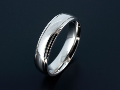 Gents Palladium polished Wedding Ring with 2 Grooved Lines.